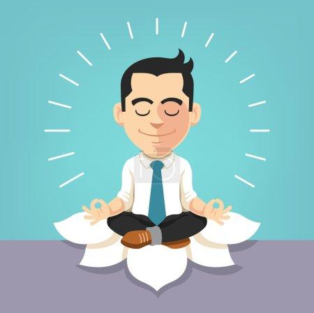 Illustration pour Un homme d'affaires qui fait du yoga. Illustration vectorielle plate - image libre de droit