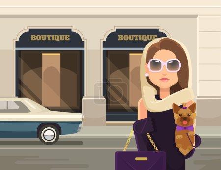Fashionable woman. Vector flat illustration