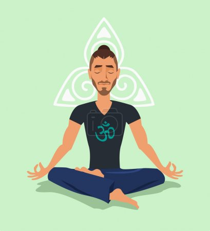 Illustration for Yoga man. Vector flat illustration - Royalty Free Image