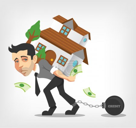 Business man carry house. Vector flat illustration...