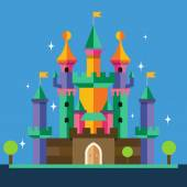 Cartoon castle. Vector flat illustration