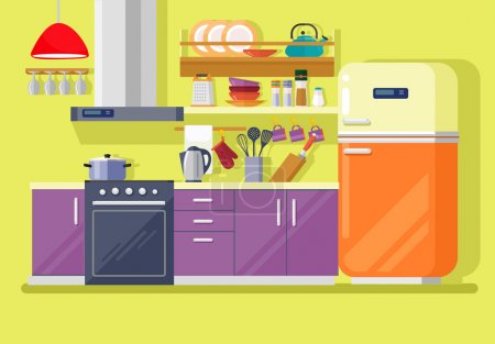 Kitchen with furniture. Vector flat illustration...