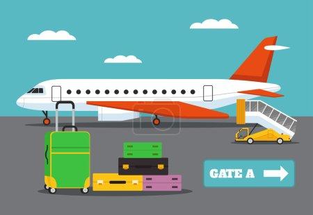 Landing on flight. Vector flat illustration