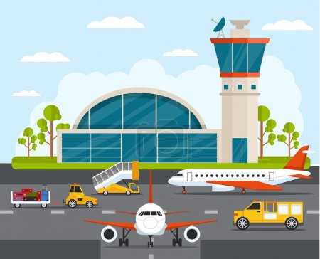 Illustration for Airport with infographic elements templates. Vector flat illustration - Royalty Free Image