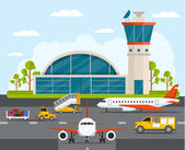 Airport with infographic elements templates Vector flat illustration