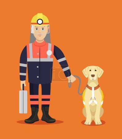 Illustration pour Sauveteur avec chien. Illustration vectorielle plate - image libre de droit