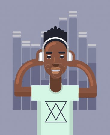 Man listens to music. Vector flat illustration