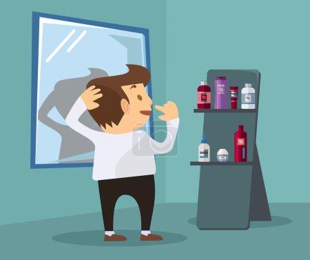 Man chooses cosmetics. Vector flat illustration