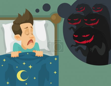 Man and nightmare. Vector flat illustration