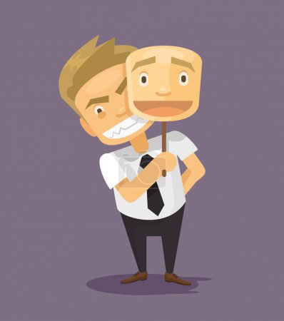 Business man in fake mask smile. Vector flat illustration