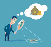 Businessman with magnifying glass looking for money Vector flat illustration