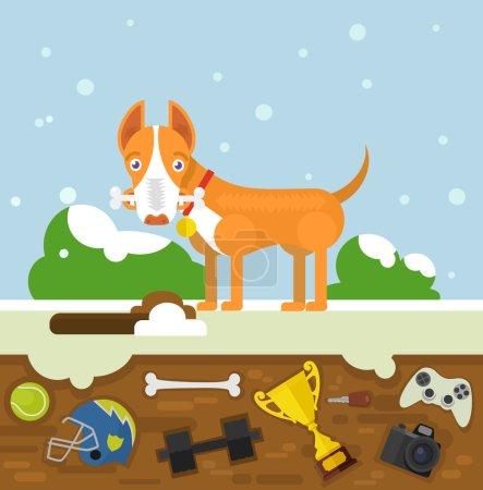 Dog buries a bone. Vector flat illustration