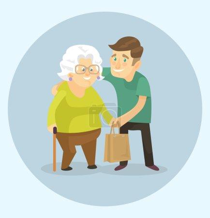 Ehrenamtliche helfen der Großmutter. Vektorflache Abbildung