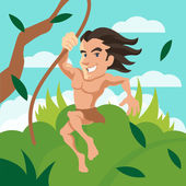 Tarzan swinging on a vine Vector cartoon illustration