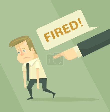 Fired office worker. Employee firing concept. Vector flat illustration
