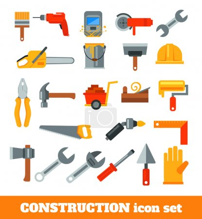 Working tools for construction and repair. Vector flat icon illustration