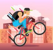 Young guy on bicycle Vector flat illustration
