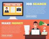 Job search and human resources Vector flat cartoon illustration banner set