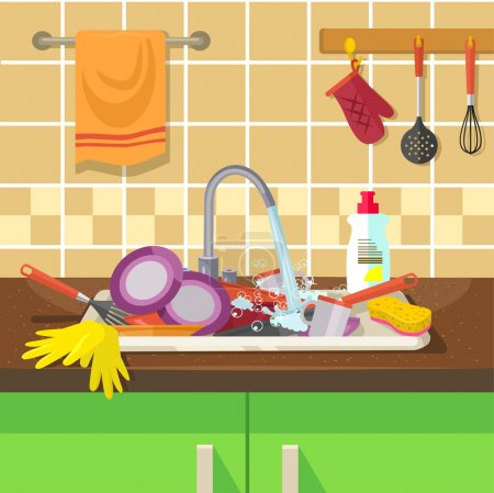 Illustration for Dirty sink with kitchenware. Vector flat illustration - Royalty Free Image