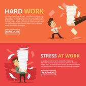 Many work Hard work Vector flat banner illustration set