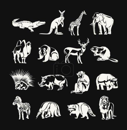 Illustration pour Ensemble d'icônes de contour de doodle blanc vecteur animaux - image libre de droit