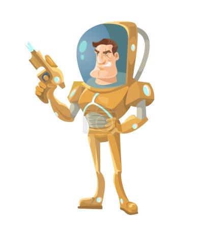 Star ship troopers character. Vector cartoon illustration