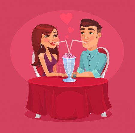 Illustration for Romantic couple in the cafe. Vector flat illustration - Royalty Free Image