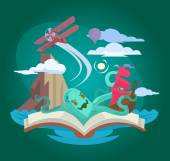 Fairy book Vector flat illustration