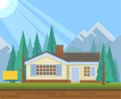 House in forest for sale. Vector flat illustration