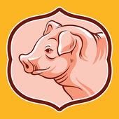 Pig head in frame Vector cartoon illustration