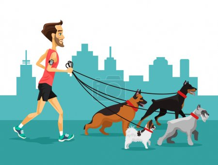 Cartoon man running with his dogs. Vector flat illustration