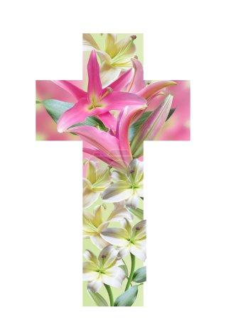 Photo pour Croix chrétienne faite de fleurs de lys. Croix de Pâques. Croix religieuse - image libre de droit