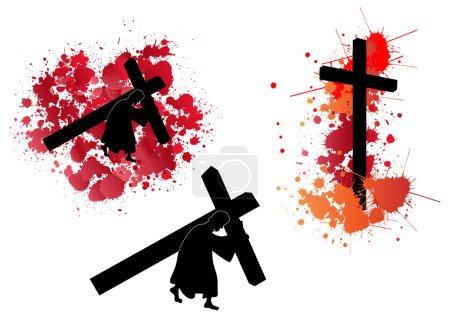 Photo pour Jésus portant la croix avec éclaboussure de sang - image libre de droit