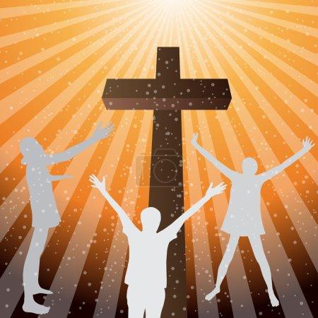 Illustration pour Trois femmes adorent et louent le Seigneur avec la croix - image libre de droit