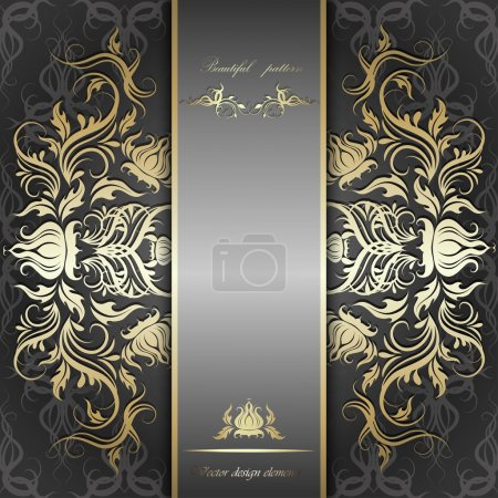 Illustration for Elegant background with lace ornament and place for text. Floral elements, ornate background. Vector illustration. EPS 10. - Royalty Free Image