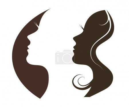 Illustration for Woman chat vector logo design template. Girl silhouette  cosmetics, beauty, health, spa, fashion themes. Creative icon. - Royalty Free Image