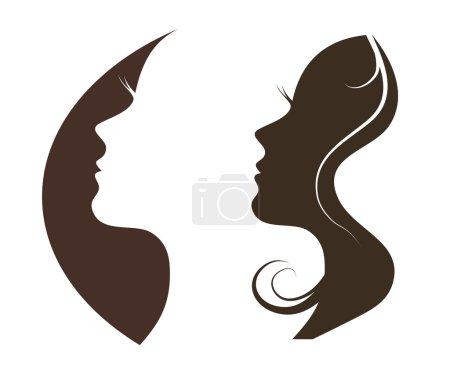 Illustration pour Modèle de conception de logo vectoriel chat femme. Fille silhouette cosmétiques, beauté, santé, spa, thèmes de la mode. Icône créative . - image libre de droit