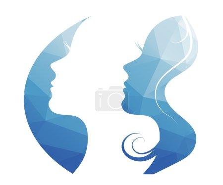Illustration pour Vecteur belles femmes et filles silhouettes - image libre de droit