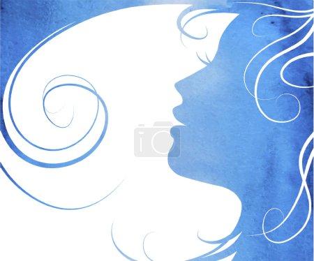 Illustration pour Femme de mode aquarelle aux cheveux longs. Illustration vectorielle. Beau visage de sirène. Silhouette de fille. Cosmétiques. La beauté. Santé et spa. Thèmes de mode . - image libre de droit
