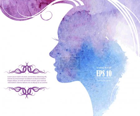 Illustration for Watercolor Fashion Woman with Long Hair. Vector Illustration. Beautiful Mermaid Face. Girl Silhouette. Cosmetics. Beauty. Health and spa. Fashion themes. - Royalty Free Image