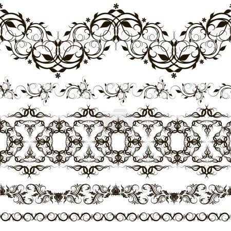 Set of horizontal lace pattern, decorative elements