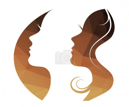 vector beautiful women and girl silhouettes