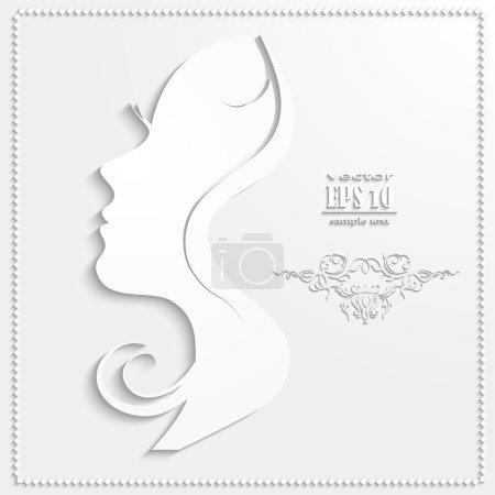 Illustration pour Papier figure tête de la fille - image libre de droit