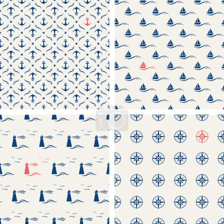 Illustration for Set of maritime seamless patterns - Royalty Free Image
