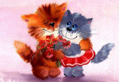 Photo pour Doux couple de chats amoureux. Chat gris mignon moelleux avec un bouquet de peinture à l'huile rouge et peinte . - image libre de droit