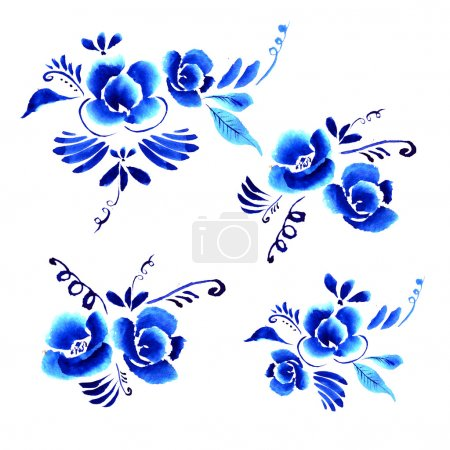 Photo for Abstract folk floral background, pattern with bright blue folk art flowers against white background - Royalty Free Image