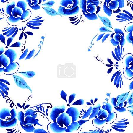 Photo pour Floral abstrait folk. Fleurs bleus vif sur fond blanc - image libre de droit
