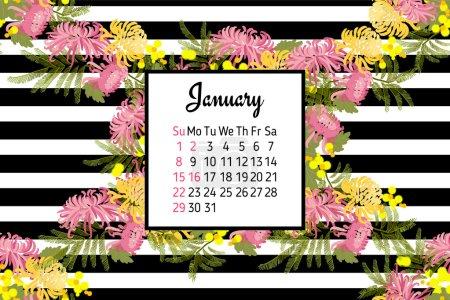 Floral January calendar 2017
