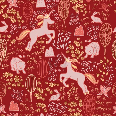 pattern of animals and magical unicorns.