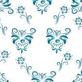 Floral ornament in blue tones